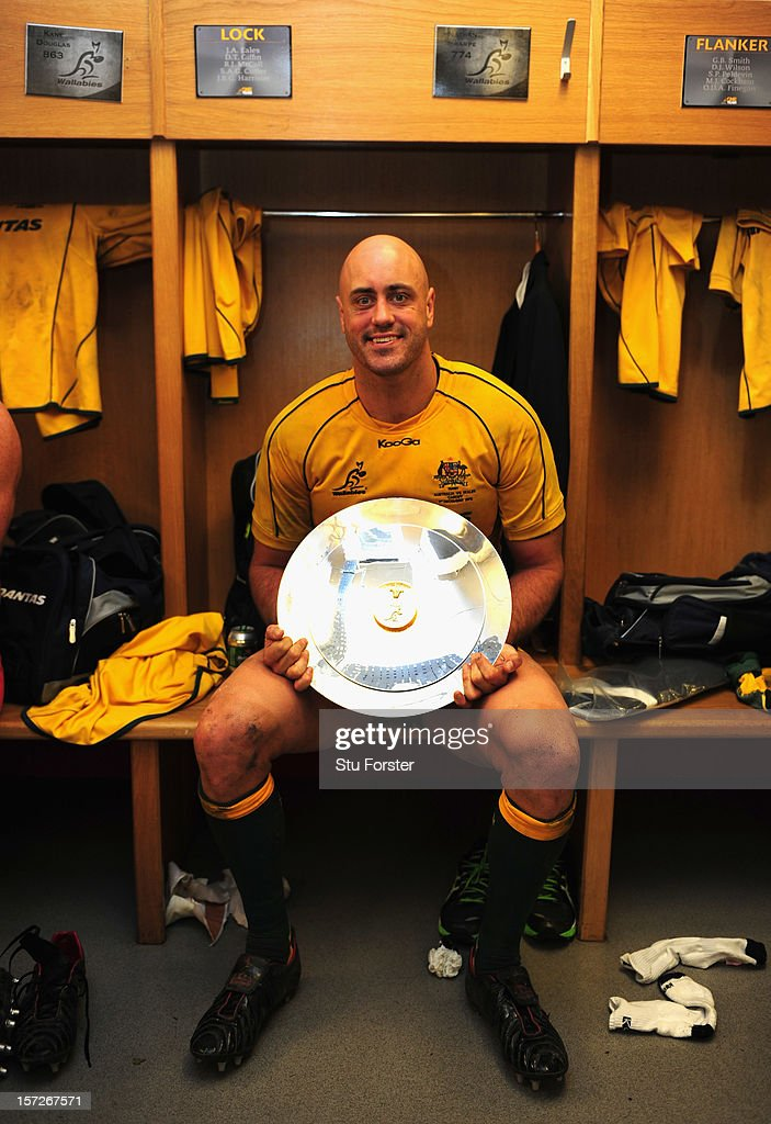 Wallabies captain Nathan Sharpe with the winners shield after his last test match after the International match between Australia and Wales at Millennium Stadium on December 1, 2012 in Cardiff, Wales.