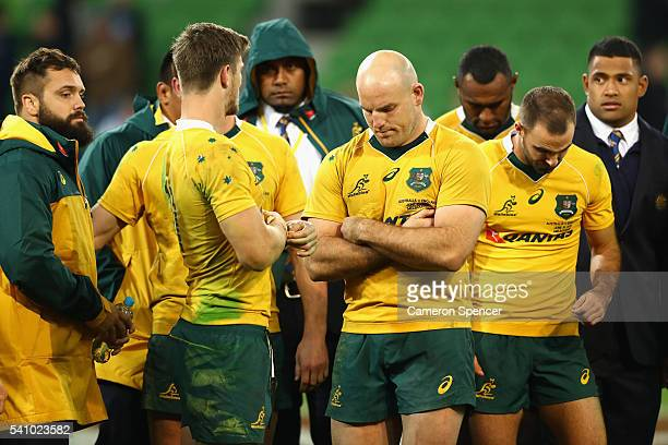 Wallabies captain Stephen Moore and team mates look dejected after losing the International Test match between the Australian Wallabies and England...
