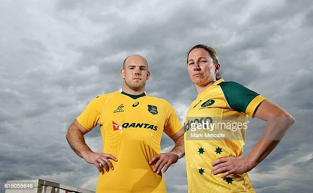 Wallabies captain Stephen Moore and Wallaroos captain Ash Hewson pose during an ARU Media Opportunity at the Intercontinental Double Bay on October...