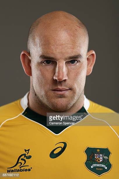 Wallabies captain Stephen Moore poses during an Australian Wallabies portrait session on May 30 2016 in Sunshine Coast Australia