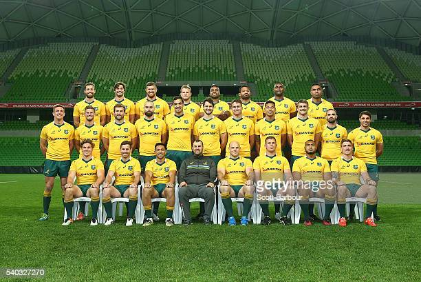 Wallabies coach Michael Cheika and the Wallabies pose for a team photo during a Wallabies team photo at AAMI Park on June 15 2016 in Melbourne...