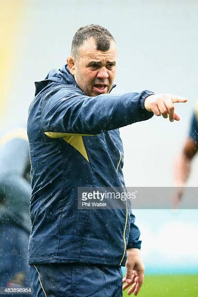 Wallabies coach Michael Cheika during the Australian Wallabies Captain's Run at Eden Park on August 14 2015 in Auckland New Zealand