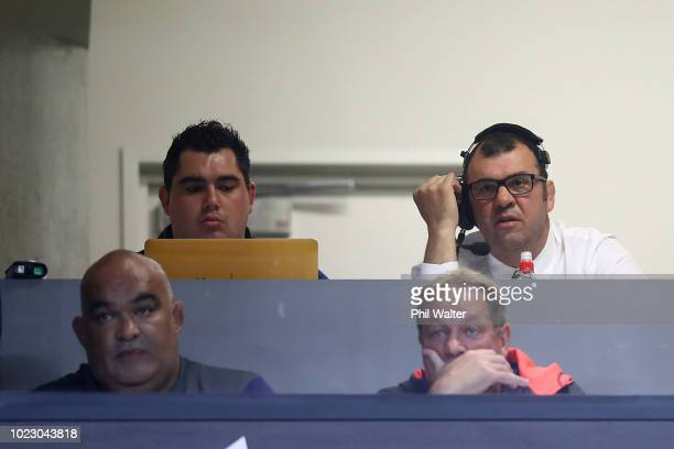 Wallabies coach Michael Cheika during The Rugby Championship game between the New Zealand All Blacks and the Australia Wallabies at Eden Park on...