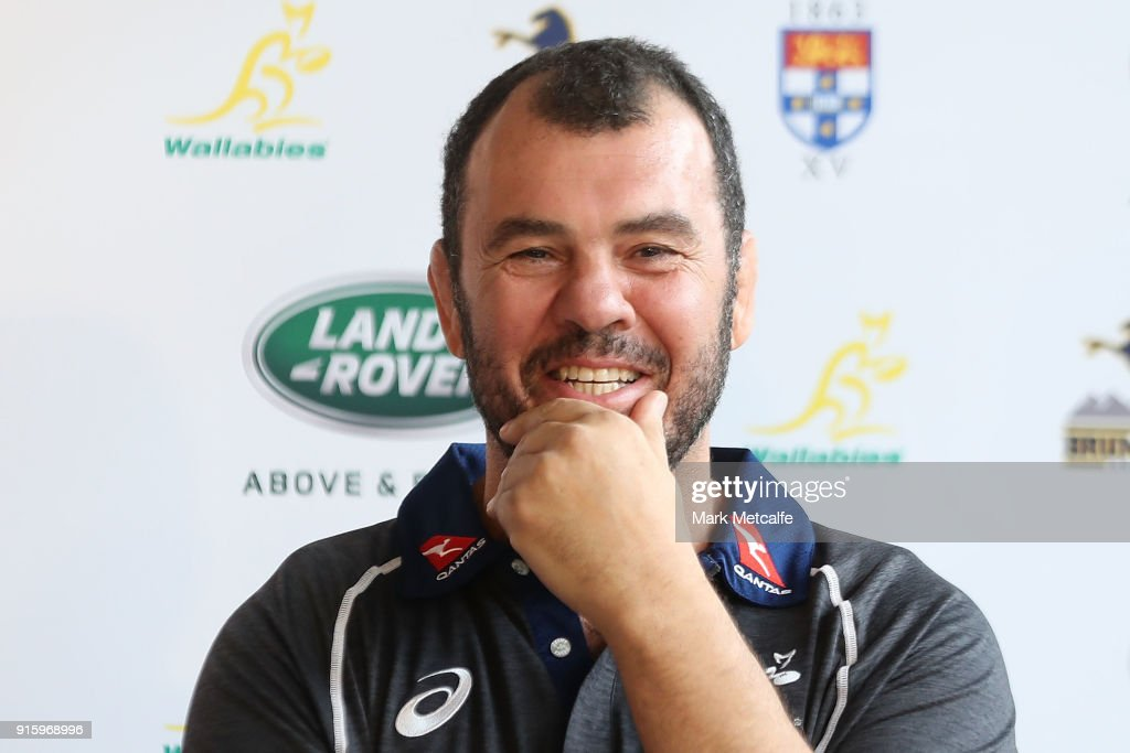 Wallabies coach Michael Cheika speaks to the media during an Australian Wallabies media opportunity at Rugby Australia HQ on February 9, 2018 in Sydney, Australia.
