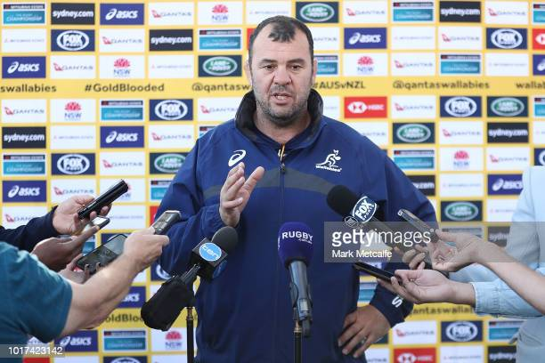 Tom Robertson speaks to media during the Australia Wallabies and Wallaroos squad announcements at ANZ Stadium on August 16 2018 in Sydney Australia