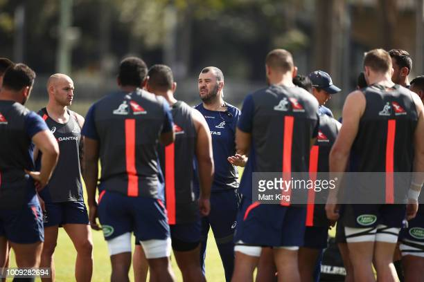 Wallabies coach Michael Cheika talks to players during a Wallabies training session at Moore Park on August 2 2018 in Sydney Australia
