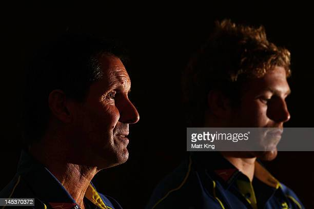 Wallabies coach Robbie Deans and David Pocock speak to the media during an Australian Wallabies press conference at Crowne Plaza Coogee on May 28...