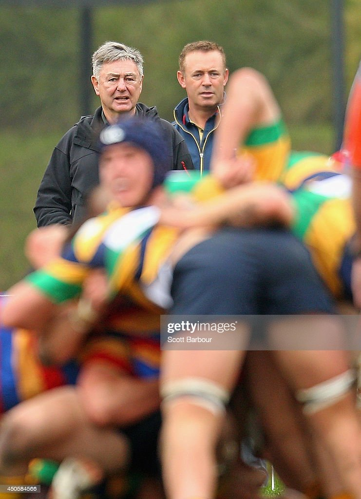 Wallabies Defence Coach Nick Scrivener attends St Kevin's College to watch the St. Kevin's College v Scotch College rugby match on June 14, 2014 in Melbourne, Australia.