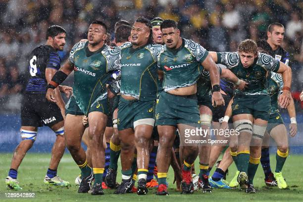 Wallabies forwards after a scrum breaks up during the 2020 Tri-Nations match between the Australian Wallabies and the Argentina Pumas at Bankwest...