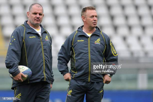 Wallabies head coach Ewen McKenzie looks on during the Australian Wallabies captain's run at Olimpico Stadium on November 8 2013 in Turin Italy