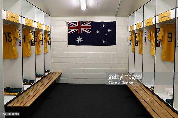 Wallabies jerseys are organised in the Australian dressing room prior to the International Test match between the Australian Wallabies and England at...