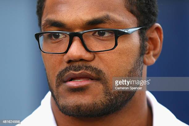 Wallabies player Henry Speight speaks to media during an ARU media opportunity at Allianz Stadium on July 23 2015 in Sydney Australia Speight has...