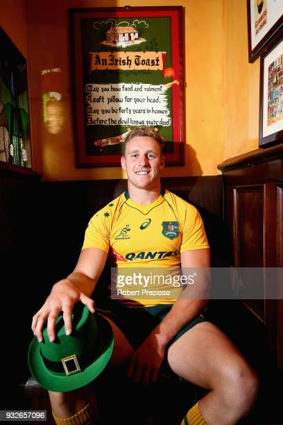 Wallabies player Reece Hodge poses during a media opportunity ahead of the upcoming Wallabies Test series against Ireland at The Irish Times Pub on...