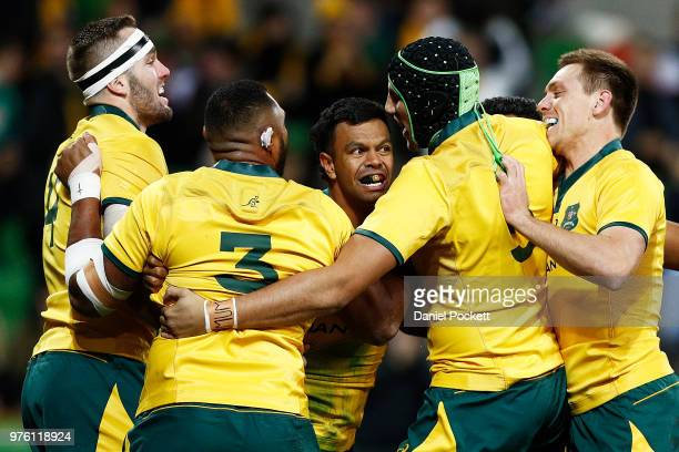 Wallabies players celebrate a Kurtley Beale of the Wallabies try of the Wallabies during the International test match between the Australian...