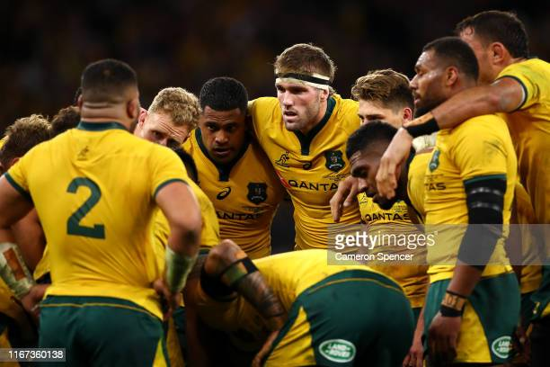 Wallabies players huddle during the 2019 Rugby Championship Test Match between the Australian Wallabies and the New Zealand All Blacks at Optus...
