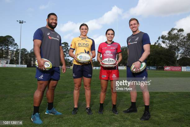 Wallabies plyers Scott Sio and Dane HaylettPetty with Sevens players Millie Boyle of Bond and and Chantelle HollowaySamuels of Griffith during an...