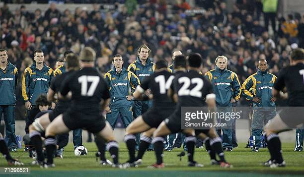 Wallabies watch the Haka during the Tri Nations series Bledisloe Cup match between the New Zealand All Blacks and the Australian Wallabies held at...