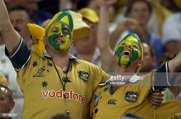 Wallaby fans celebrate their teams win over the All Black's in the Rugby World Cup semifinal played at Telstra StadiumSaturday Australia won 2210