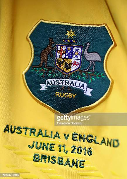 Wallaby jersey hangs in the Australian dressing room prior to the International Test match between the Australian Wallabies and England at Suncorp...