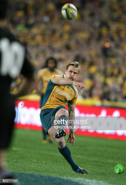 Wallaby Matt Giteau kicks the first penalty of the Tri Nations Bledisloe Cup rugby union Test between Australia and New Zealand in Sydney on July 26,...