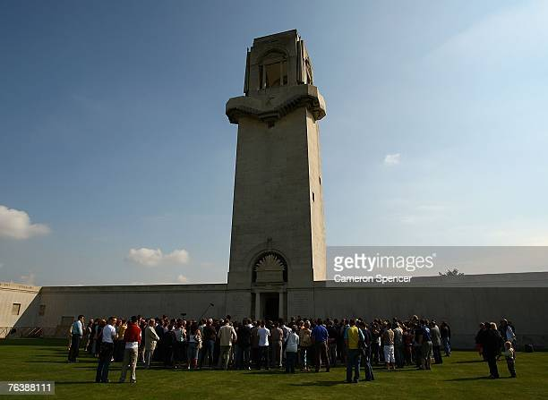 Wallaby players and spectators attend a commemorative service at the Australian National Memorial at Villers Bretonneux August 30 2007 in Amiens...
