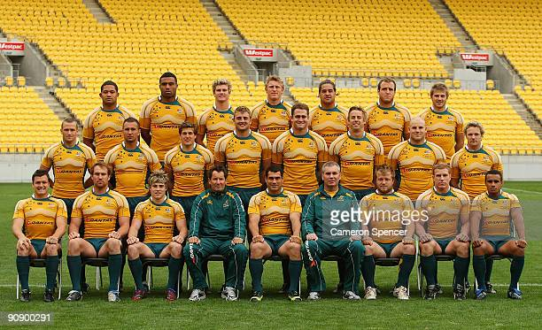 Wallaby players pose for a team shot during an Australian Wallabies Captain's run at Westpac Stadium on September 18 2009 in Wellington New Zealand