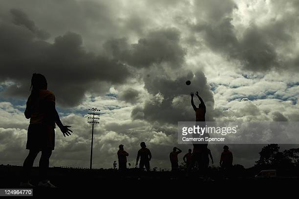 Wallaby players practice a lineout during an Australia IRB Rugby World Cup 2011 training session at The Trusts Stadium on September 15 2011 in...