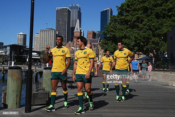 Wallaby squad members walk outside the hotel during the ASICS Wallabies Jersey Launch at the Park Hyatt Hotel on May 7 2014 in Sydney Australia