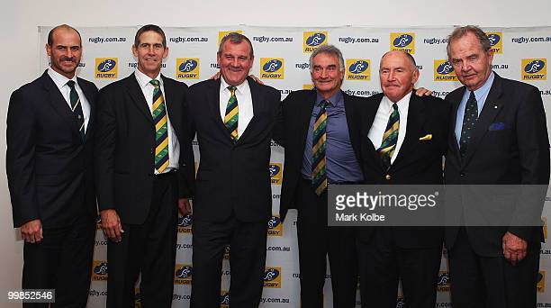 Wallaby statesmen David Wilson Roger Gould Greg Cornelsen John Brass Peter Johnson and David Brockhoff pose for a group photo after their...