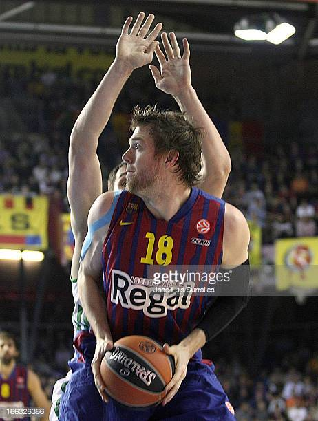 J Wallace #18 of FC Barcelona Regal in action during the Turkish Airlines Euroleague 20122013 Play Offs game 2 between FC Barcelona Regal v...