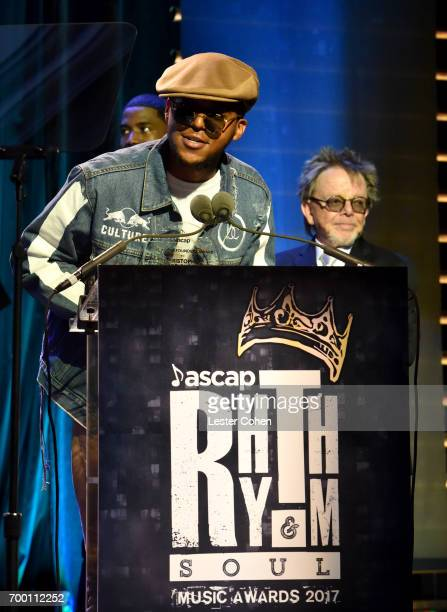 J Wallace accepts the Founders Award on behalf of Notorious BIG from ASCAP President Paul Williams onstage at the ASCAP 2017 Rhythm Soul Music Awards...
