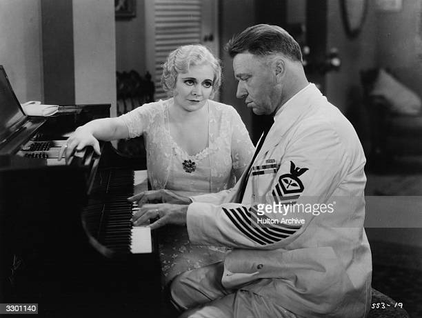 Wallace Beery with Marjorie Rambeau in a scene from the film 'Hell Divers' about rivalry between two officers in the Naval Air Force The film was...