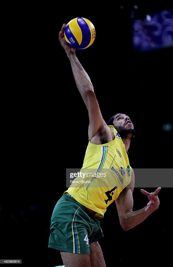 Wallace De Souza of Brazil in action during the FIVB World League Final Six semifinal match between Italy and Brazil at Mandela Forum on July 19, 2014 in Florence, Italy.