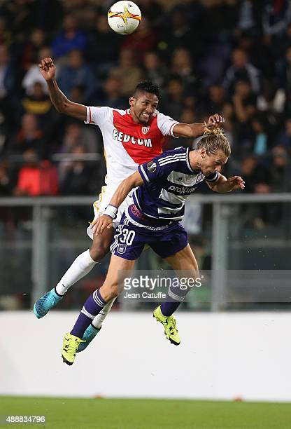 Wallace Fortuna dos Santos of Monaco and Guillaume Gillet of Anderlecht in action during the UEFA Europa League match between RSC Anderlecht and AS...