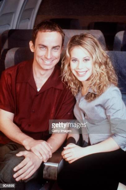"Wallace Langham with guest star, Tara Lipinski in ""Veronica's Closet."" . Photo credit: Paul Drinkwater NBC, Inc."