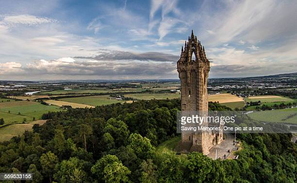 wallace monument, aerial - stirling stock pictures, royalty-free photos & images