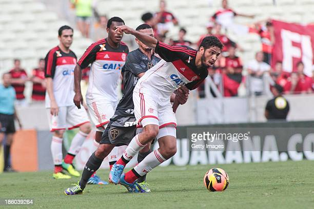 Wallace of Flamengo in action during the match between Flamengo and Portuguese for the Brazilian Championship Serie A in 2013 Castelao Arena stadium...
