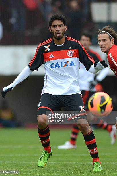 Wallace of Flamengo runs for the ball during the match between Flamengo and Internacional for the Brazilian Serie A 2013 on July 21 2013 in...