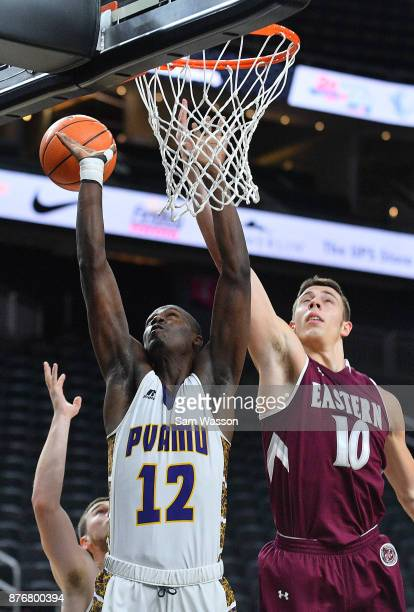Wallace of the Prairie View AM Panthers and Nick Mayo of the Eastern Kentucky Colonels battle for a rebound during day one of the Main Event...