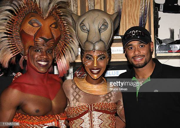 """Wallace Smith , Kissy Simmons and Johan Santana, Starting Pitcher for The New York Mets, visits backstage at Disney's """"The Lion King"""" on Broadway at..."""