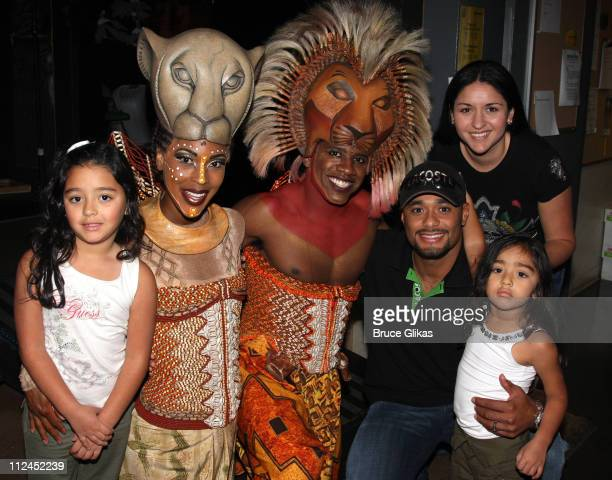 Wallace Smith , Kissy Simmons , Johan Santana, Starting Pitcher for The New York Mets, wife Yasmile and daughters Jasmily and Jasmine visit backstage...