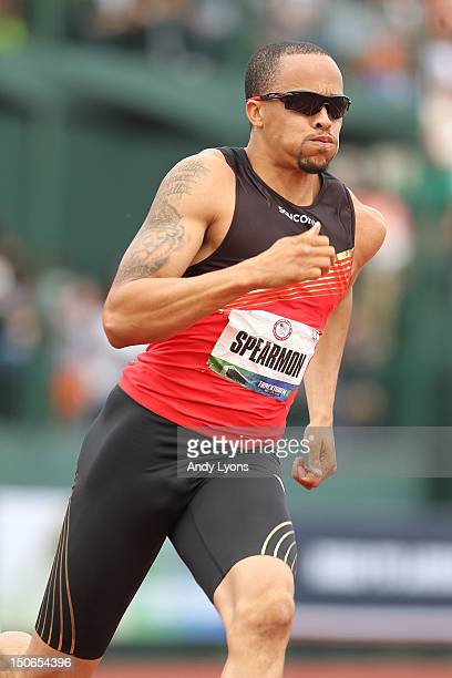 Wallace Spearmon runs to victory in the Men's 200 Meter on Day 10 of the 2012 US Olympic Track Field Team Trials at Hayward Field on July 1 2012 in...