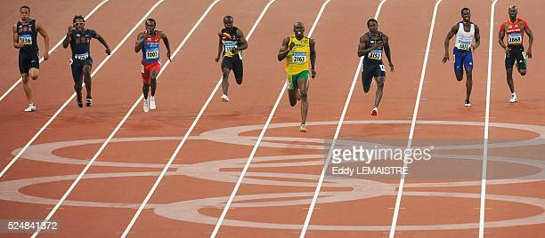 Wallace Spearmon Walter Dix Churandy Martina Brian Dzingai Usain Bolt Shawn Crawford Christian Malcolm and Kim Collins