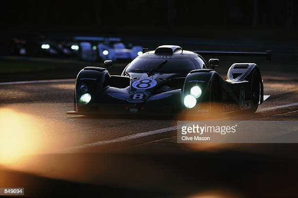 Wallace Van De Poele and Leitzinger driving the Team Bentley EXP Speed 8 to fourth place in action during the Le Mans 24 hour Endurance Race at the...