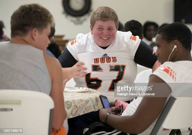 Wallace-Rose Hill's Eric Hanchey during some social time with his teammates over a pre-game meal at Corinth Baptist Church on Friday, Oct. 5, 2018 in...