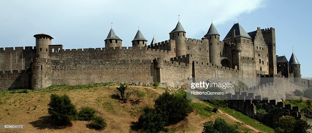 Walled citadel Carcassonne medieval Languedoc Roussillion France Black and White : Stock Photo