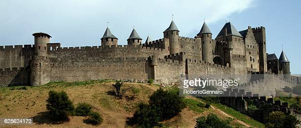 walled citadel carcassonne medieval languedoc roussillion france black and white - castle stock photos and pictures