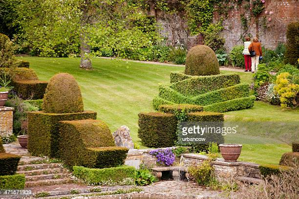 walled garden with topiary - sunken stock pictures, royalty-free photos & images