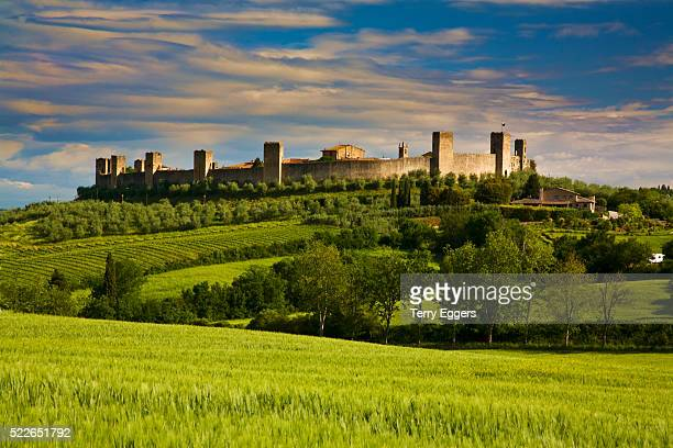Walled Hillside Town of Monteriggioni, Italy in Spring Green