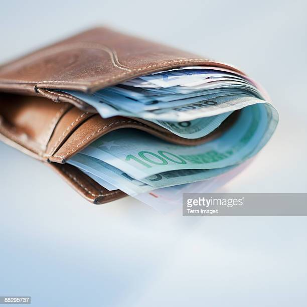 Wallet stuffed with euros
